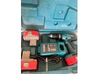 Makita 18V Cordless Combi Drill + 3 Batteries and Charger bosch diy
