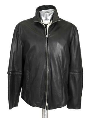 Emporio Armani Black Glove Soft Leather Jacket EU52 Large XL RRP £1150 coat