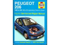 HAYNES PEUGEOT 206 SERVICE & REPAIR MANUAL 1998 - 2001 PETROL & DIESEL