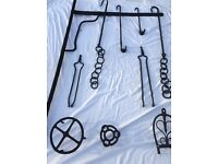 Selection of old cooking utensils and other items can used as garden decorations