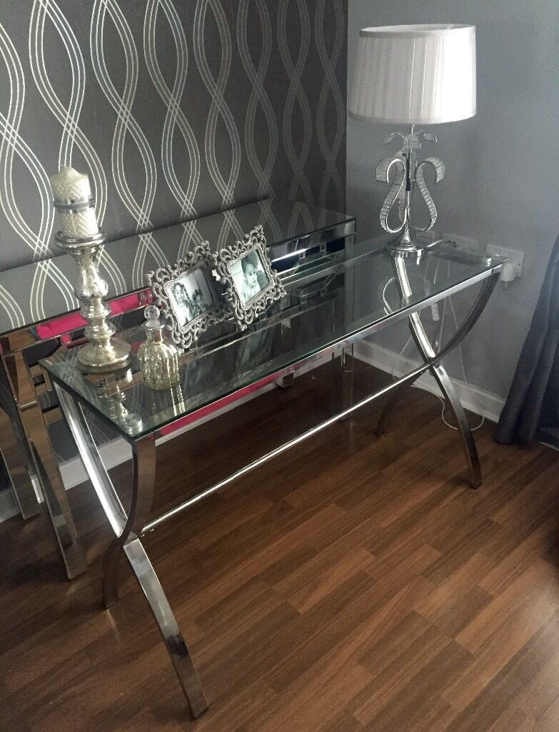 Harvey S Cross Glass Chrome Console Table Brand New Condition