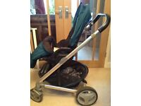 Joie Chrome travel system complete with carry cot, car seat, stroller, rain covers and manuals