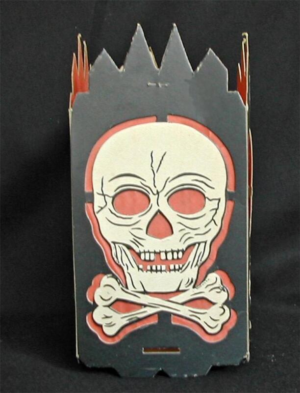 Original Old Halloween Die-Cut Skull and Cross Bones Lantern Candy Container