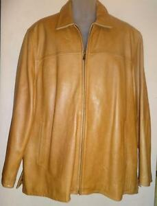 Canada Seller - MENS XL 46 48 WILSON LEATHER JACKET CAMEL BROWN Thick Heavy Warm Lined COAT //  EXCELLENT - NO DUTIES