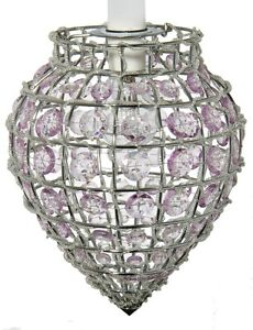 Chrome Lilac Crystal Chandelier Ceiling Light Lamp Pendant Shade Hanging Fitting