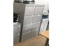 office filing cabinet Bisley 4 drawers metal grey