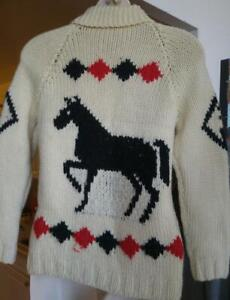 NEW WOMENS XS 30 32 34 Chunky Knit Sweater Zip HORSES Horse Equestrian Theme Made by Hand Knit Spring Jacket Cardigan
