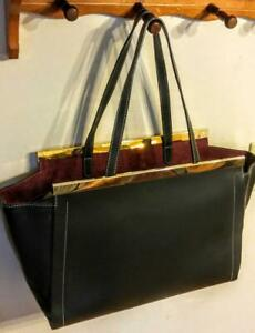 NEW $260 Alberta Di Canio Italian LEATHER TOTE BAG Large Made in Italy Black Roomy Italian Leather & Suede