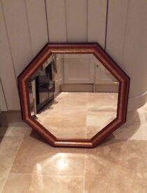 Octagonal decorative wooden mirror