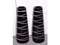 Pair of Black & White Ceramic Vases (36cm tall)