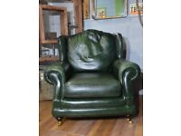 Thomas Lloyd Chesterfield Vintage Leather Armchair Green