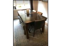 Purbeck blue stone table with bench and 4 chairs