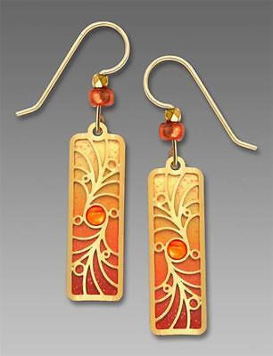 - Adajio Earrings Orange Column with Gold Plated Overlay and Beads Handmade in USA