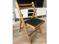 Lovely Vintage Retro Folding Chair With Black Vinyl Seat Good Condition!