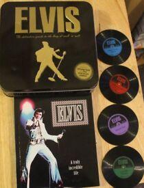 Elvis 224 Page Book & 4 Vinyl Record Coasters