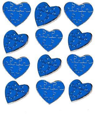 12 Pack Autism Awareness Heart Puzzle Pieces Lapel Hat Pins Raise Awareness 7304](Blue Puzzle Piece Lapel Pin)
