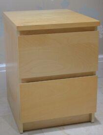 Ikea Malm Bedside Table in Birch x2