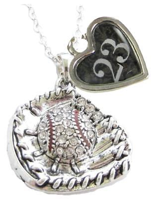 Sports Number Necklace (Custom Baseball Glove Crystal Silver Necklace Jewelry Jersey Numbers 50-99)