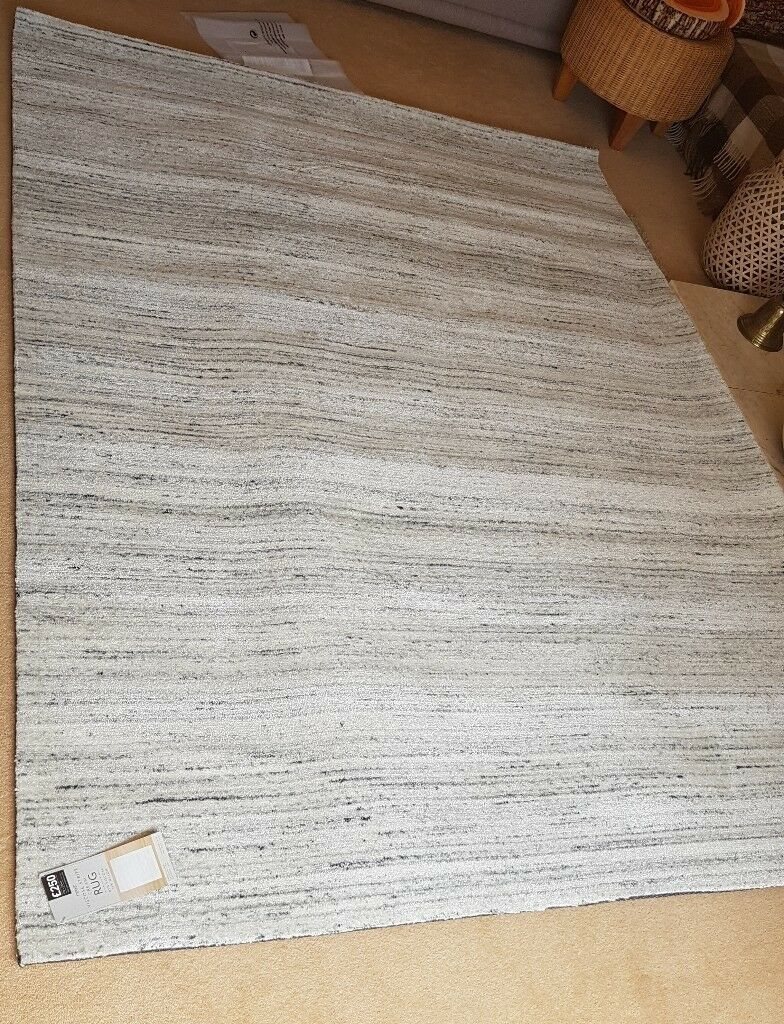 Next Viscose Stripe Cream Floor Rug 170cm By 230cm Brand New