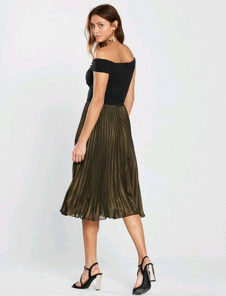 e622098959849 Oasis Metallic Bardot Pleat Midi Dress - Multi - Size 12 petite