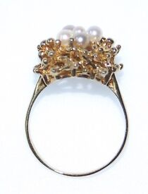 STUNNING RETRO DESIGN 9CT GOLD PEARL RING SIZE O FULLY HALLMARKED MADE IN ENGLAND REAL WORK OF ART