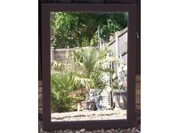 MIRROR ATTRACTIVE BROWN DIMPLED LEATHER LOOK FRAME, EXCELLENT CONDITION, CAN DELIVER