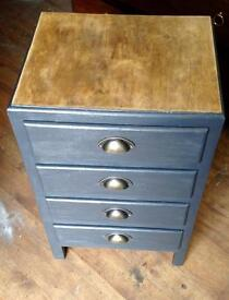 Industrial chic 4 drawer chest/side table Upcycled + unique