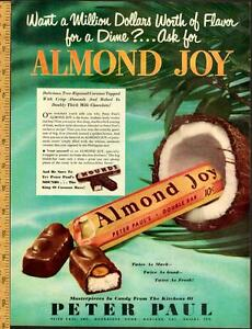 Large 1950 full-page color ad for the Almond Joy chocolate bars