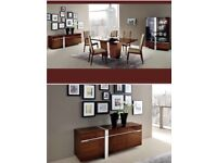 Alf Italia Brown high gloss Extending Dining Table with 10 chairs and Sideboard