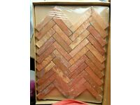 1.4 sqm Starel Natural Stone Traventine herrigbone red pink Wall Floor Tiles