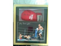 """tony bomber bellew signed boxing glove and signed picture professionally framed 20"""" x 22"""""""