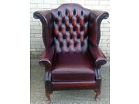 1 x Red Chesterfield Arm Chair, Ref: 5