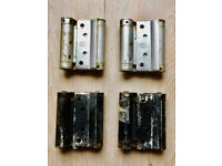 2 PAIRS OF USED VINTAGE RECLAIMED LIOBEX 75 MM DOUBLE ACTION SPRING HINGES