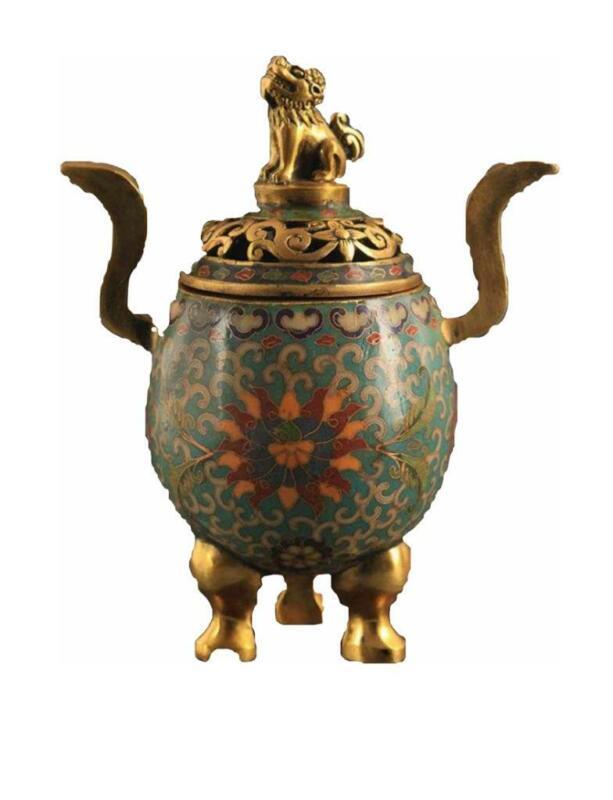 Antique Chinese Cloisonne Censer w Foo Lion Finial, 18th C.