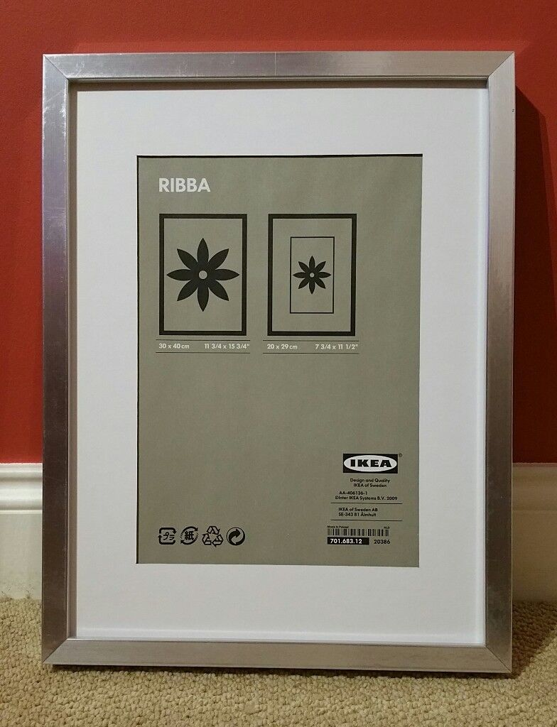 2 x Ikea Ribba Picture Frames - Siver 30cmx40cm [for A4 size ...