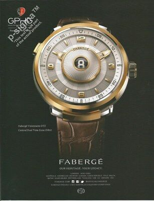 FABERGE Visionaire DTZ watch - 2017 Print Ad for sale  Shipping to United States