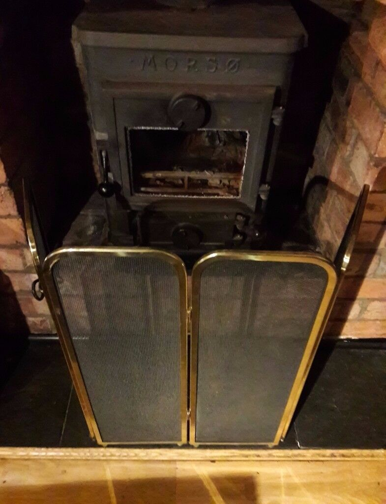 Vintage Brass 4 Panel Folding Fire Screen Well Made Fire Guard