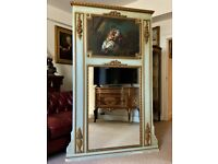 Tall 19thc French Painted Wall Mirror Inc Swags & An Oil Portrait Painted Panel