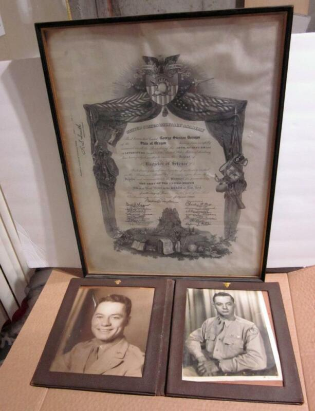 1946 WEST POINT  DIPLOMA  FOR LT. COLONEL GE)RGE S. DORMAN + 2 PHOTOS IN FOLDER