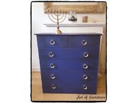 Chest Of 2 Over 4 Drawers Hand Painted in ANNIE SLOAN Napoleonic Blue Chalk Paint