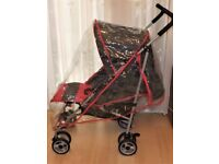 pram / pushchair ,in grey and PINK ,Dimples with matching raincover , VGC