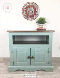 Rustic TV cabinet, shabby chic TV cabinet, duck egg blue storage cabinet, duck egg blue sideboard