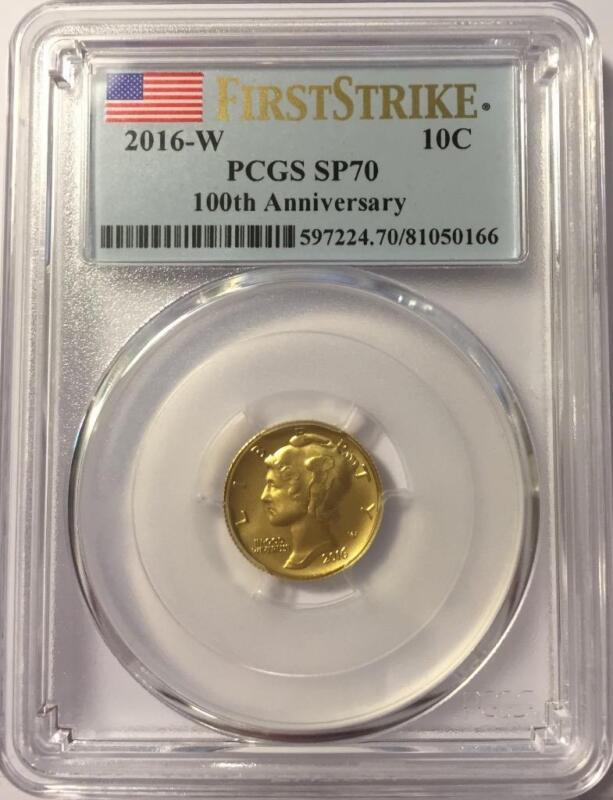 2016 W GOLD MERCURY DIME CENTENNIAL COIN PCGS SP70 FIRST STRIKE MINT BOX/COA