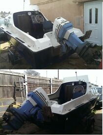 GRP Boat 16', for Fishing and Fun, Johnson 55HP and 4HP Outboards, with Trailer, Ready to go,