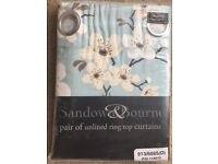 Sandown and Bourne Blue Cherry Blossom Curtains 168 X 229 cm - NEW
