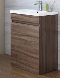 Walnut Effect Wooden Bathroon Sink Unit