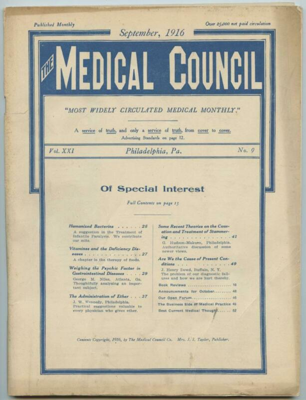 Sept. 1916 Philadelphia Medical Council Journal Medicine Doctors Trade Magazine