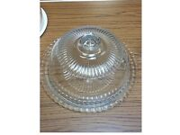 Glass cheese/cake plate with lid.