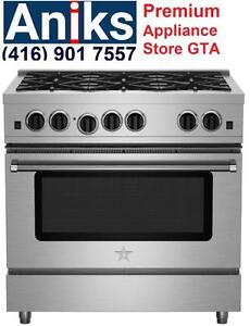 "BlueStar RPB366BV2 Pro Culinary Series 36"" Gas Range 6 Open Burners, power 18000 BTUs, Glide Out Rack, 5.0 cu. ft. Conve"