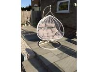 DOUBLE SWING EGG CHAIRS WHITE/GREY CUSHIONS BRAND NEW IN PACKAGING £275